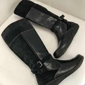 Clarks suede leather black knee high boots 11